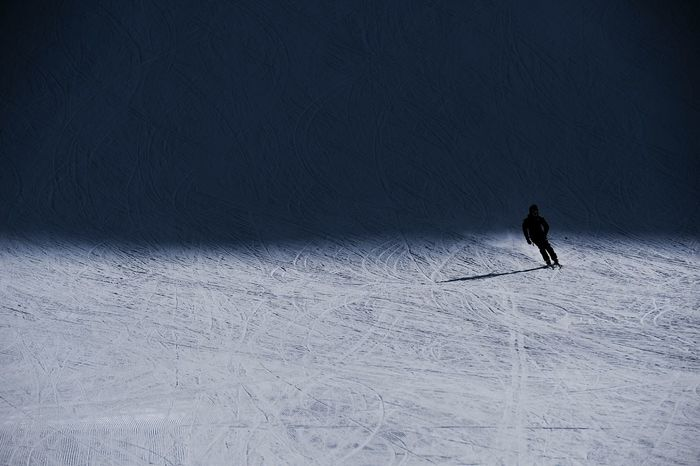 Cold Temperature Snow Winter Skiing Alpine Skiing People Only Men Outdoors Day Shadow Sun From Darkness Into Light