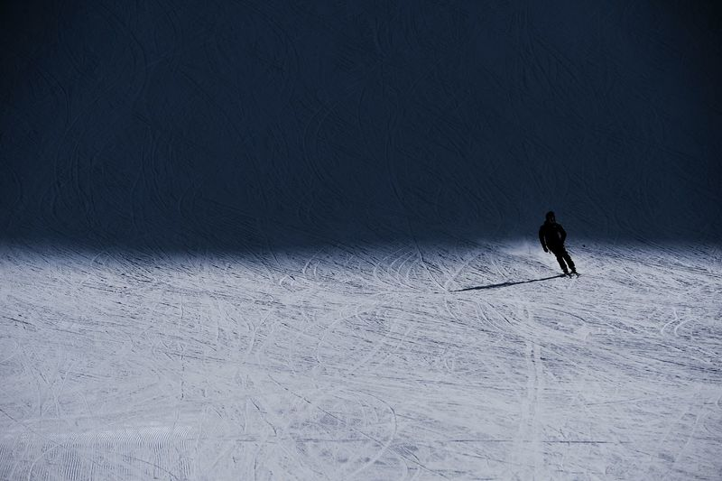 Full length of person skiing on snow