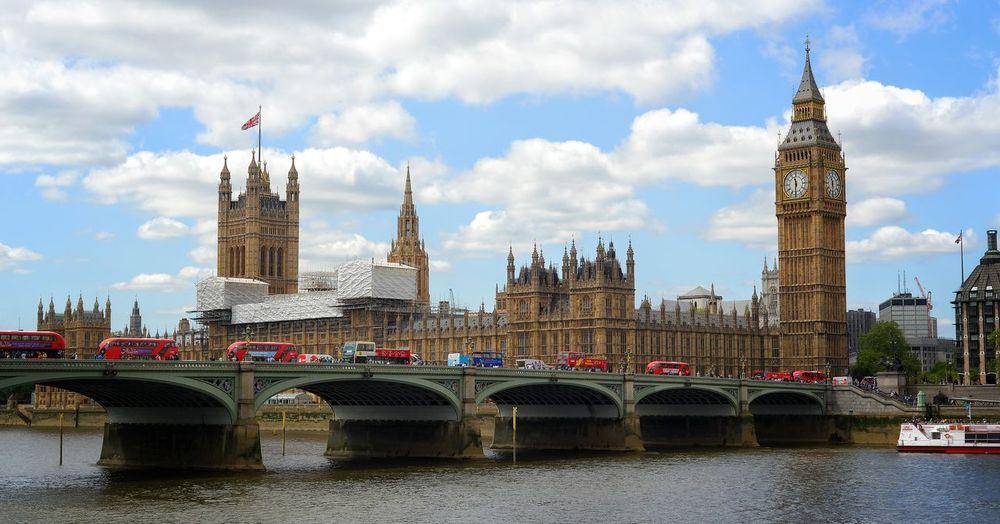 Parliament building by bridge