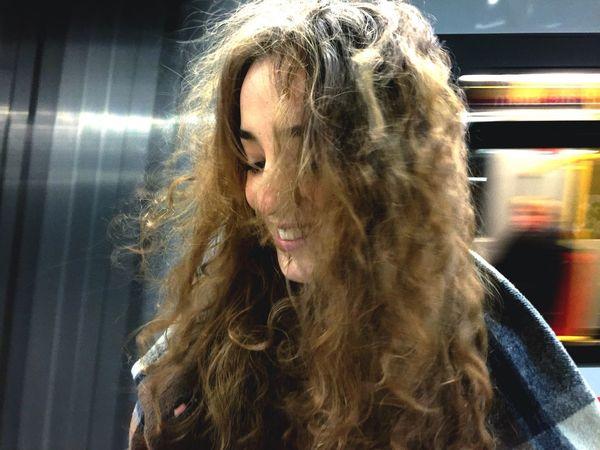 Portrait Color Portrait Girl Wind Hair Curly Hair! Train Station Subway Open Edit The Portraitist - 2015 EyeEm Awards