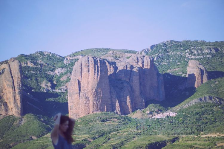Mountains Mayos De Riglos Riglos SPAIN Huesca Landscape Woman Woman Portrait Outdoors Outdoor Photography Summertime Travel Hiking Hikingadventures Adventure Nature Green Color Green Sky Blue Clear Sky