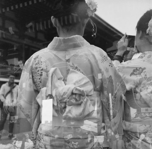 Blackandwhite Day Film Film Photography Geisha Japan Japanese Women Kimono Maiko Multiexposure  Obi People Real People Rear View Spring Temple Traditional Clothing Two People Women