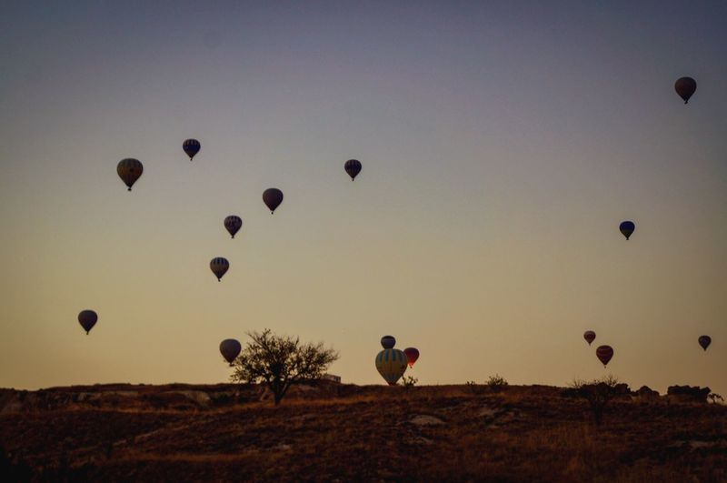 Air Vehicle Sky Hot Air Balloon Mid-air Transportation Balloon Nature Flying Silhouette Sunset Landscape Beauty In Nature Scenics - Nature Outdoors EyeEmNewHere