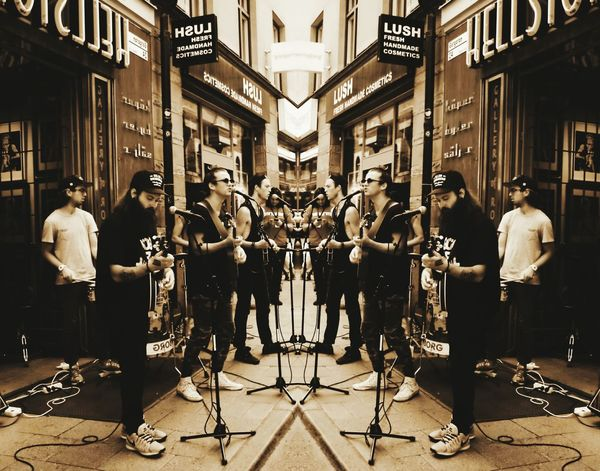Judah and The Lion outside of Hellstone in Stockholm. Judah And The Lion Hellstone Music Sepia Mirror Effect Mirror Edit Street Photography Music Brings Us Together