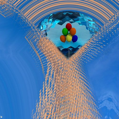 Low angle view of balloons in swimming pool