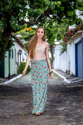 Modeling Fashion Blond Hair Young Women Tree Portrait Females Smiling Beauty Full Length Beautiful Woman Happiness Posing Floral Pattern Fashion Model Sundress Sleeveless
