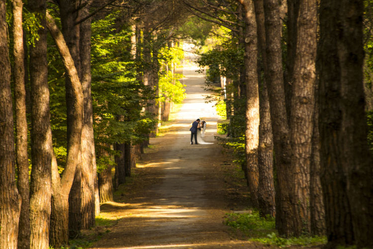 Bridal couple romancing amidst trees