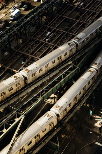 High angle view of trains at railway bridge