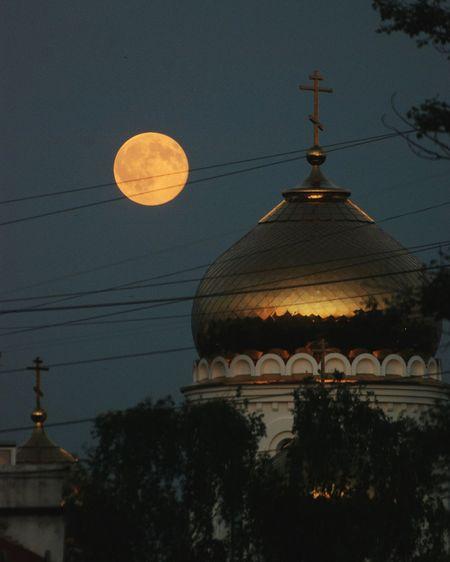 Полнолуние. Ночь Церковь луна Moon Church Night