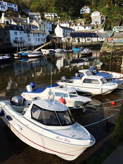 Polperro Water Reflections Sea Harbour Fishing Cottage Boats Beautiful Scenery Fishing Harbour Scenics Cornwall Uk Water Transportation Nautical Vessel Mode Of Transportation Day Moored Nature High Angle View Reflection