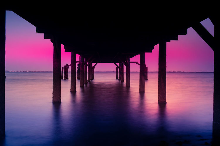 Architectural Column Architecture Beach Beauty In Nature Below Built Structure Day Gazebo Horizon Over Water Nature No People Outdoors Pier Scenics Sea Silhouette Sky Sunset Tranquil Scene Tranquility Underneath Water
