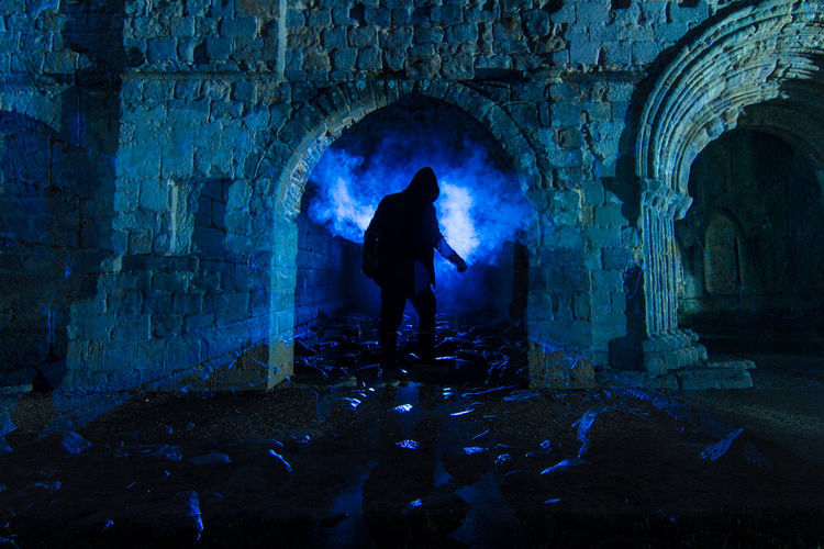 Double Exposure Silhouette Architecture Arch Abbey Ruins Blue Cold Backlight Mist Fog Man Figure Textures Drama Cinematic Ruins Fountains Abbey Uk England Surreal Fantasy Sooc - Straight Out Of The Camera Fine Art Photography Beautiful Tunnel