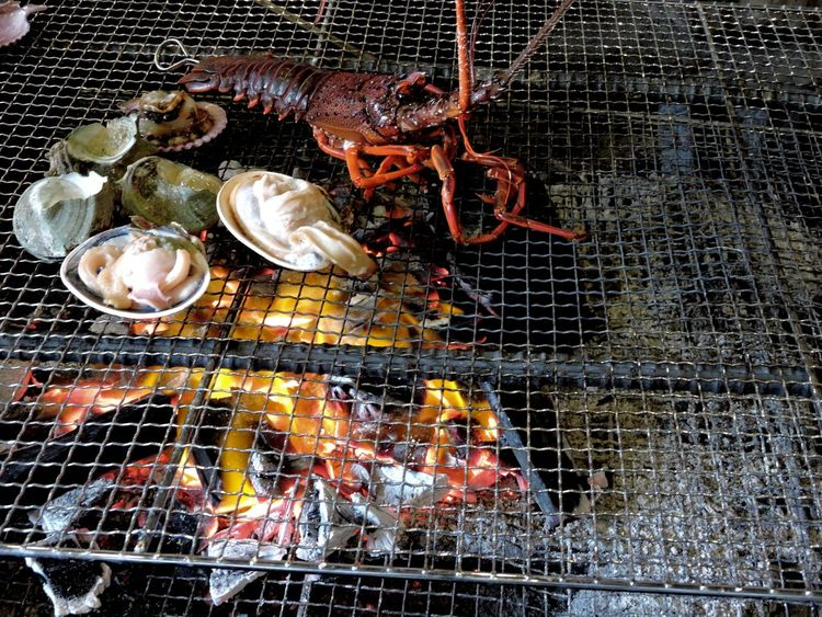 Abundance Barbecue Grill Crayfish Delicious Feast Food Ocean Bound  Seafood SHELLFISH  Spiny Lobster]