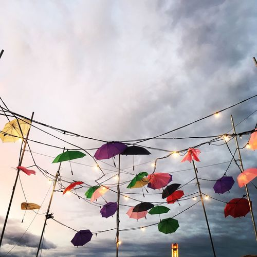 Hanging Multi Colored Cloud - Sky Decoration Colorful Large Group Of Objects No People Outdoors Low Angle View Tranquility Festival Neon Life Paint The Town Yellow