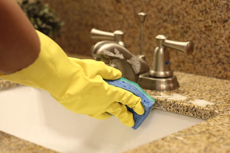 Cropped Hands Of Woman Washing Sponge In Bathroom