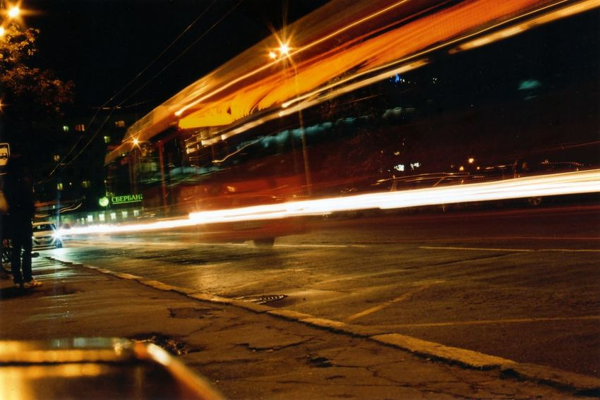 35mm City City Life City Street Dark Glowing Illuminated Light Trail Motion Night No People Outdoors Road Sky