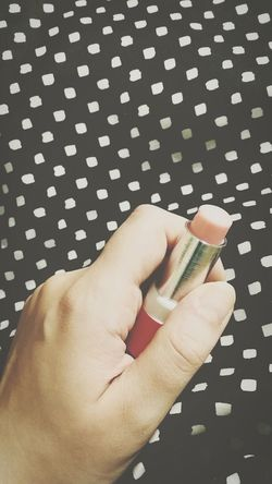 Human Hand Human Body Part Pattern One Person Spotted One Woman Only Indoors  Close-up Day Lipstick Lipbalm Rose🌹