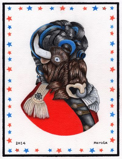 "Just this 8 1/2"" x 11"" colored pencil painting with gamasol on heavy arches paper. I really like buffalo and old millitary style portraits. Taking Photos Art Beautiful Portrait"