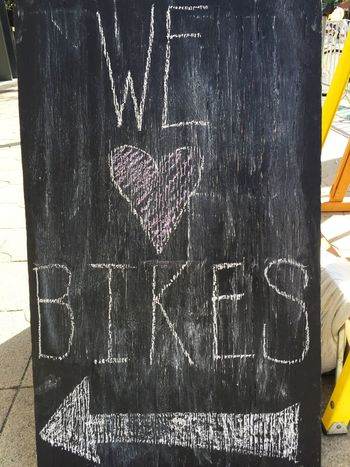 A Bike Chalk Close-up Communication Day Direction Graffiti Heart Instructions Look No People Outdoors Pointing Sidewalk Text Wall Wall - Building Feature We Heart It Western Script Writing Writing On The Walls