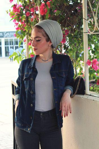 🌹 Denim Jacket Nose Ring Sidewalk Pretty Pierced Thoughtful Posing Casual