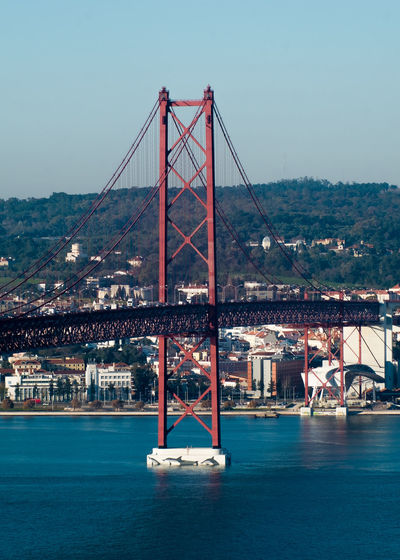 Suspension bridge over tejo river
