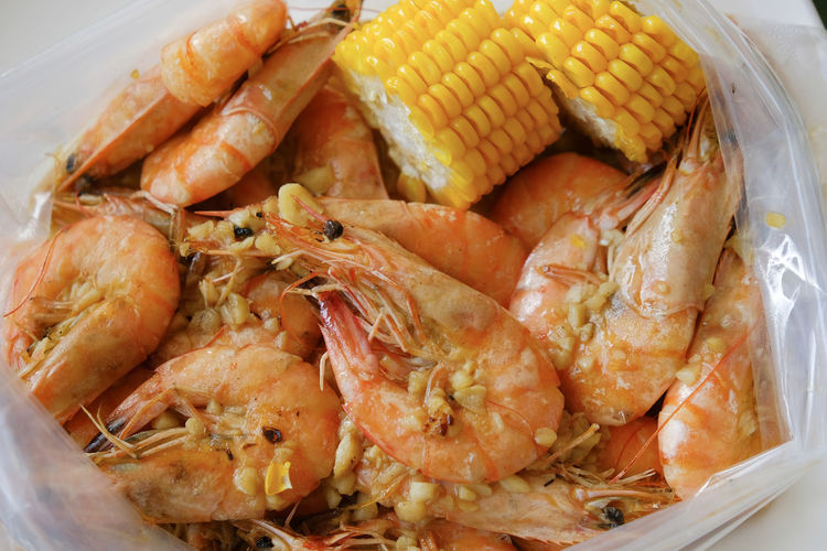 Food And Drink Food Freshness Seafood Healthy Eating Close-up Wellbeing Ready-to-eat Shrimp - Seafood High Angle View Indoors  Crustacean Meat Prawn No People Plate Vegetable Still Life Corn Meal Dinner Sweetcorn Tray Garlic Shrimp