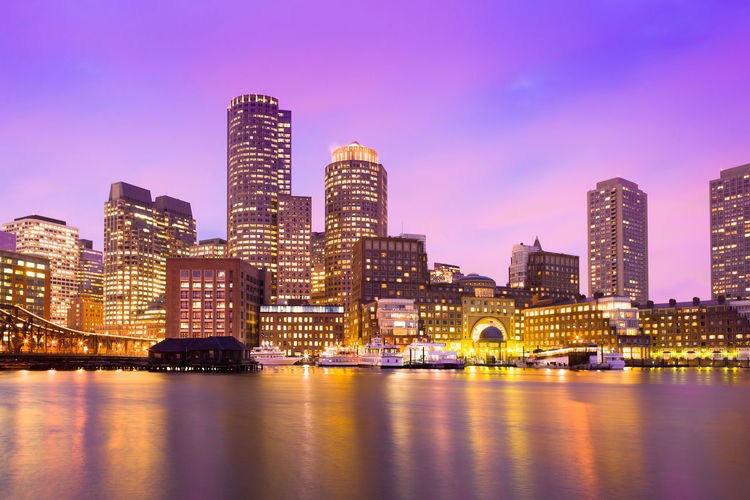 Financial District Skyline and Harbour at Dusk, Boston, Massachusetts, USA Architecture Boston City Cityscape Downtown Harbor New England  Skyline USA Dusk Masachussetts Night Waterfront