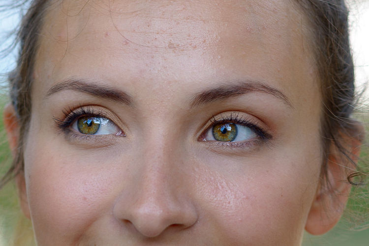 Cropped Image Of Thoughtful Woman With Hazel Eyes
