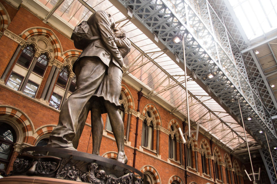 EyeEm LOST IN London St Pancras Station St. Pancras Architecture Built Structure Day Indoors  Low Angle View No People Sculpture Statue Postcode Postcards
