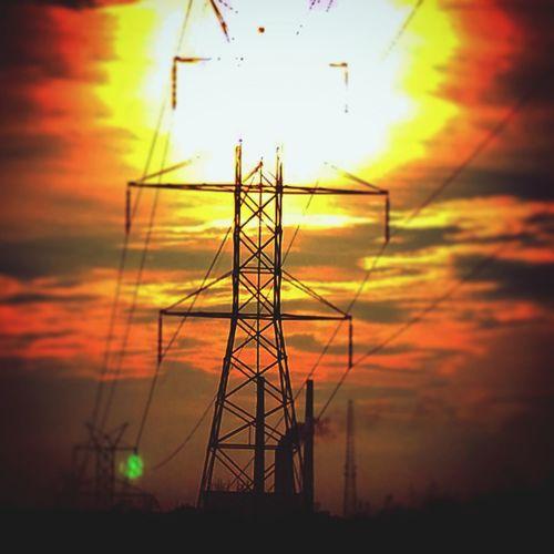 Transparent Radiation Sunset Power Lines Orange Sky Cloud Porn
