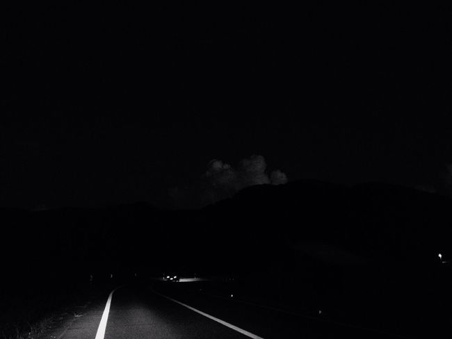 Transportation Road No People Night The Way Forward Nature Sky Scenics Mountain Illuminated Outdoors Beauty In Nature Blackandwhite