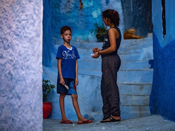 Child Two People Blue Togetherness People Outdoors Day Real People Travel Photography Traveling Lumixlounge Lumix GX8 Architecture Street Streetphotography Building Boys Morocco Chefchaouen LUMIX_GX8