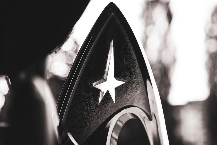 Enterprise Shiny Voyager Bokeh Close-up Communication Day Deep Space Nine Ds9 Fans Focus On Foreground Insignia Metal Shape Sign Star Shape Star Trek Starship Symbol