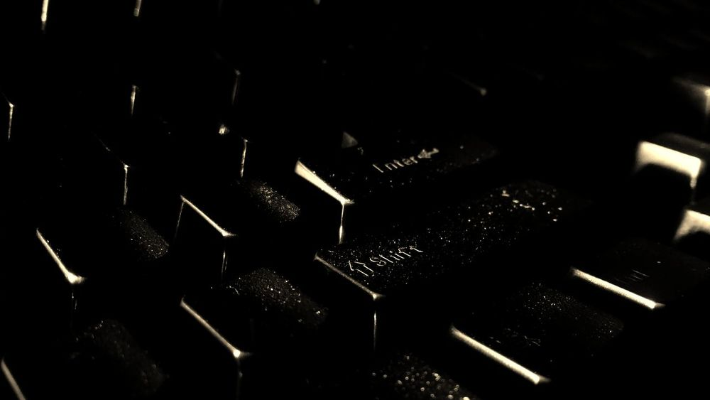 Close up of a classic old computer keyboard Shift PC Ps2 B&w Enter Keys USB Keypad Peripheral Ctrl Key Mechanical Black & White Type Keyboard Monochrome Spacebar Vintage Classic Retro Grungy Old Dusty Technology Typing