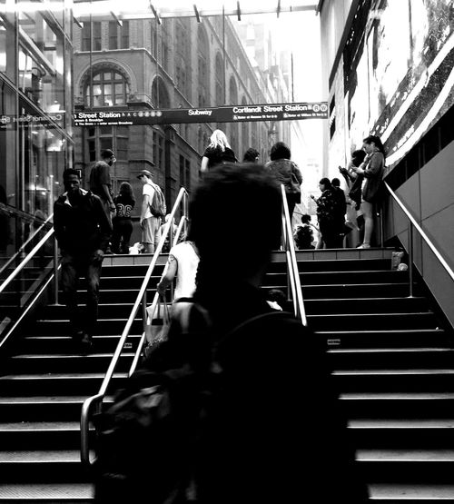New York City Subway Station Broadway Downtown Staircase Steps Steps And Staircases Railing Walking Built Structure Real People Men Large Group Of People Women Indoors  Stairs Architecture Lifestyles Day Hand Rail People Perspectives Taking On The Challenge Taking On The World