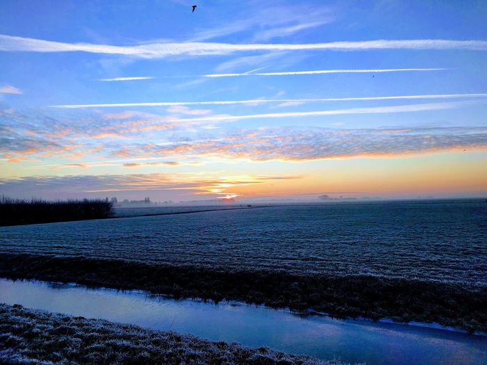 Lost In The Landscape Flat Land Netherlands Winter Sunrise Wijdenes