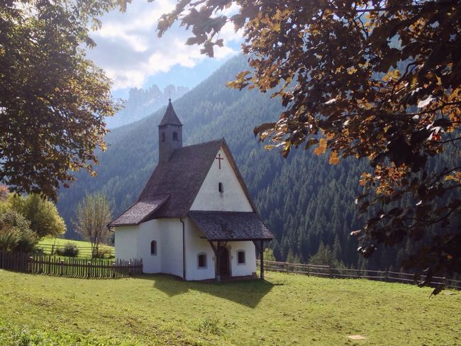 Nova Levante Welschnofen South Tyrol Trentino Alto Adige Alto Adige Italy Church Chapel Countryside Autumn Tree Built Structure Architecture Mountain Religion No People Building Exterior Day Place Of Worship Spirituality Nature Tranquility Outdoors Beauty In Nature Cross Scenics Mountain Range Sky
