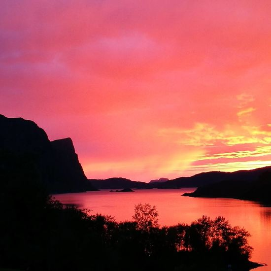 Sunset Reflection Beauty In Nature Dramatic Sky No People Landscape Cloud - Sky Outdoors Fjords Travel Destinations Hyllestad Norway Fjordnorway Lihesten Coastal Mountain Summer