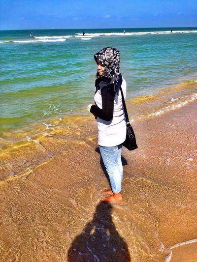 Water Sea Wave Full Length Beach Women Sand Young Women Rear View Standing