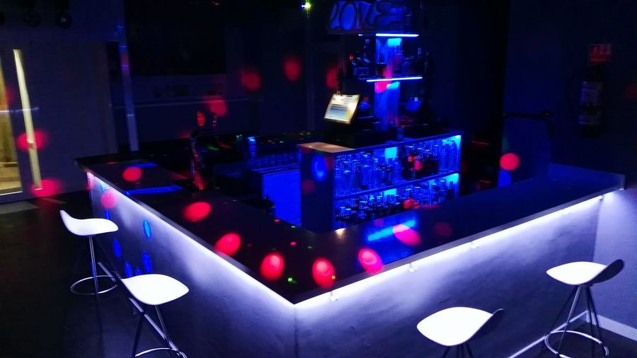 Illuminated Night Nightlife Group Of Objects Multi Colored Blue Neon Nightclub Bar - Drink Establishment Bar Counter Colorful No People