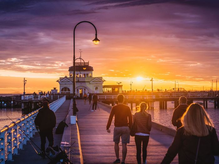 colorful sunset in Melbourne EyeEm Selects City Cityscape Sunset Winter Silhouette Dusk City Life History