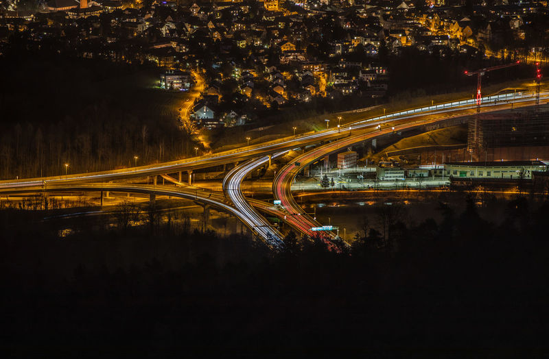 Highway in Switzerland by Night Glowing Bridge City Life No People Blurred Motion Transportation City Motion Night Light Trail Illuminated Long Exposure Speed Street Road Traffic Bridge - Man Made Structure Cityscape Multiple Lane Highway Light Built Structure Building Exterior Zürich Highway Switzerland