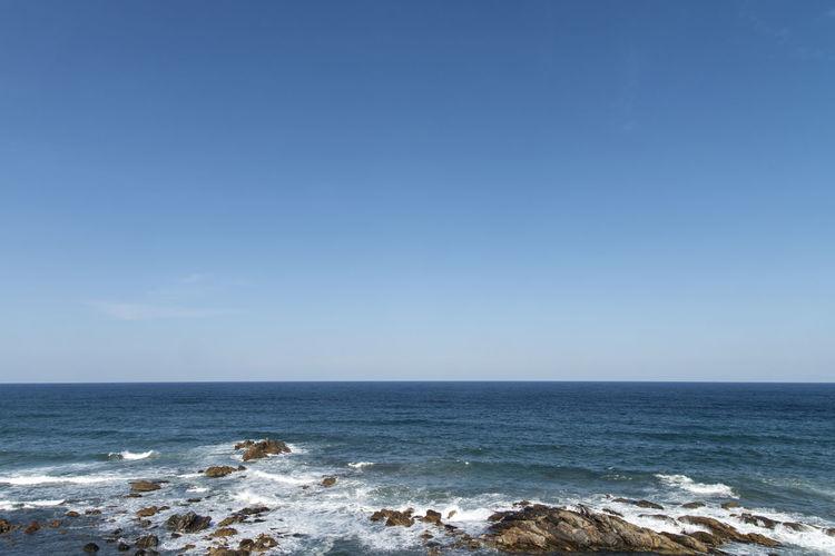 seaside view from Naksansa, Yangyang, Gangwondo, South Korea Beach Beauty In Nature Blue Day Horizon Over Water Idyllic Naksansa Nature No People Outdoors Scenics Sea Seaside Sky Tranquil Scene Tranquility Water