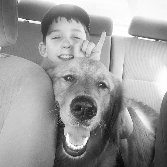 This is how they ride!!! Mysoniscuterthanyours Mydogisbetterthanyours AdoptDontShop Rescuedogsofinstagram Goldenretriever Goldensofinstagram Boysbestfriend Aboyandhisdog Dog Doggiesforanthony CarRide Baseball Pennridgelittleleague Luckyouanimalrescue