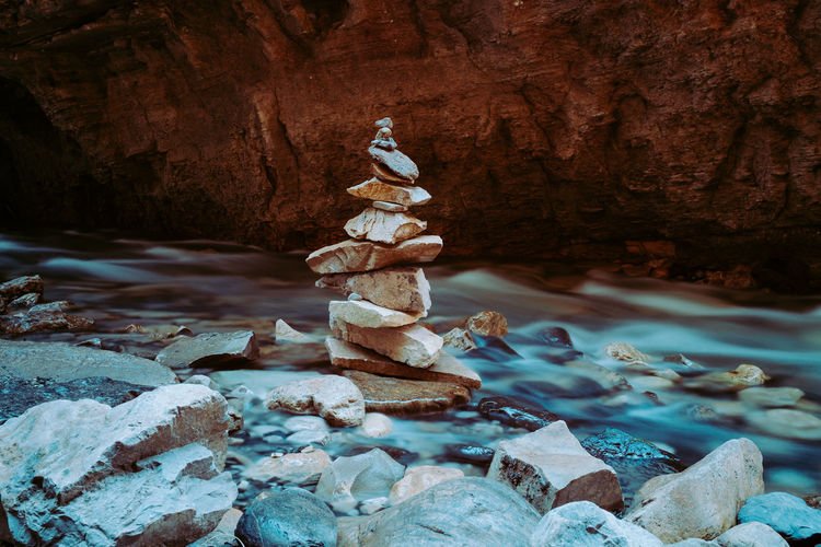 Stack of rocks by stream