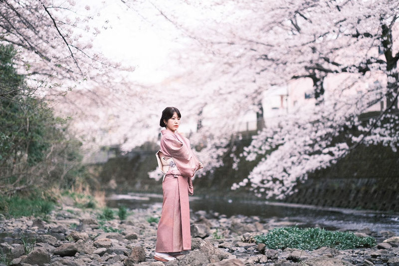 Full length of woman standing by cherry tree