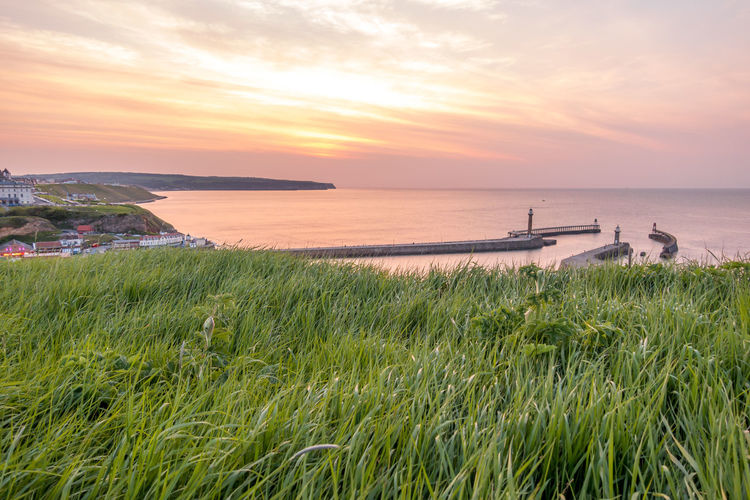 Whitby Whitby Harbour Whitby View Whitby North Yorkshire North Yorkshire North Yorkshire Coast Seaside Seaside Town Coastal Sunset Water Sky Scenics - Nature Beauty In Nature Sea Grass Tranquility Cloud - Sky Horizon Over Water Beach Nautical Vessel No People Outdoors Land Nature