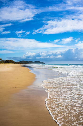 Sea Water Land Beach Cloud - Sky Scenics - Nature Sky Beauty In Nature Tranquil Scene Tranquility Sand Non-urban Scene Nature Day Idyllic No People Trip Horizon Horizon Over Water Outdoors Summer Australia Byron Bay Beautiful Ocean