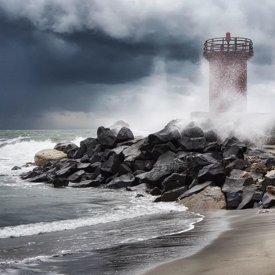 Storm is coming... Rome Harbour Lighthouse Rain Storm Port Red Wave Black Italy Bad Wether Conditions Rough Sea Water Wave Sea Beach Sand Sky Horizon Over Water Landscape