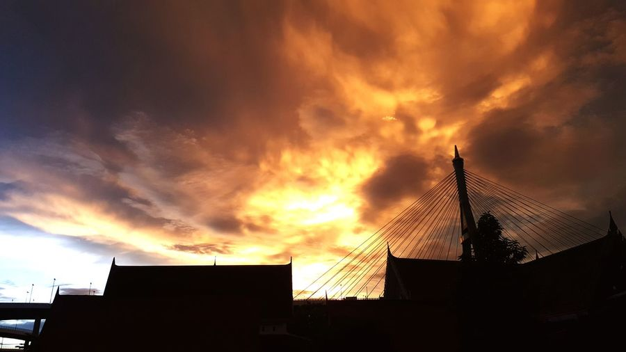 When evening come Sunset Dramatic Sky Architecture Building Exterior Built Structure Cloud - Sky Sky Outdoors Night Blood Sky No People Temple Wat Orange Sky